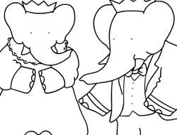 Babar and Badou Coloring