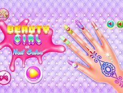 Beauty Girl At Nail Salon