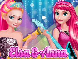 Elsa and Anna in Rock N' Royals