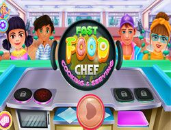 Fast Food Chef Cooking And Serving