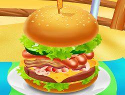 Huge Super Burger Cooking