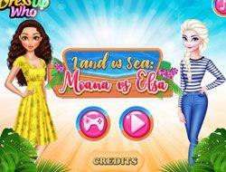 Land Vs Sea Moana Vs Elsa