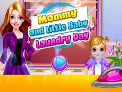 Mommy And Little Baby Laundry Day