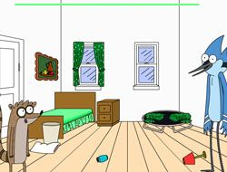 Mordecai and Rigby Cleaning the Room
